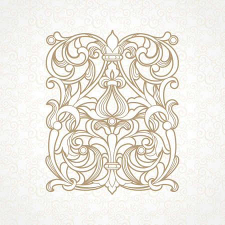 cartouche: floral pattern in Victorian style on scroll work background Illustration