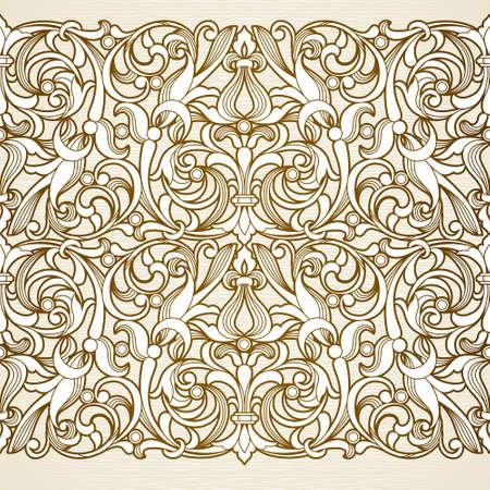 Vector naadloze grens in Victoriaanse stijl. Vintage element voor ontwerp. Sier bloemmotief voor bruiloft uitnodigingen en wenskaarten. Traditionele bruine decor op lichte achtergrond.