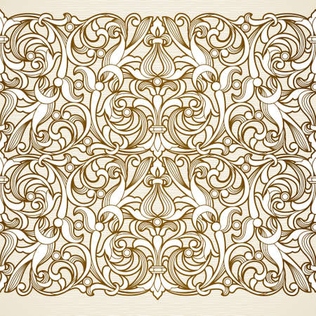 seamless floral pattern: Vector seamless border in Victorian style. Vintage element for design. Ornamental floral pattern for wedding invitations and greeting cards. Traditional brown decor on light background.