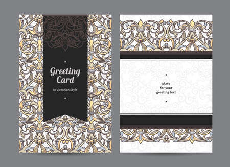 Vintage ornate cards in Victorian style Vector