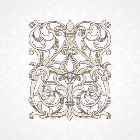 scroll work: floral pattern in Victorian style on scroll work background Illustration