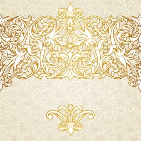 golden daisy: vintage border in Victorian style Illustration