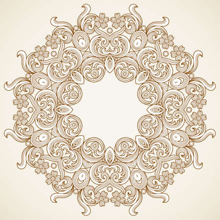Filigree frame in Victorian style in shape of a circle