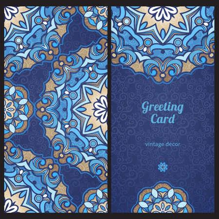 Vintage ornate cards in Eastern style Illustration