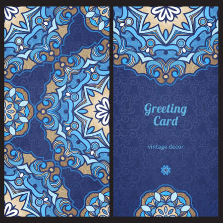 TRADITIONAL PATTERN: Vintage ornate cards in Eastern style Illustration