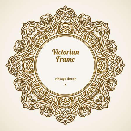 friso: Marco de filigrana en estilo victoriano, en forma de un círculo Vectores
