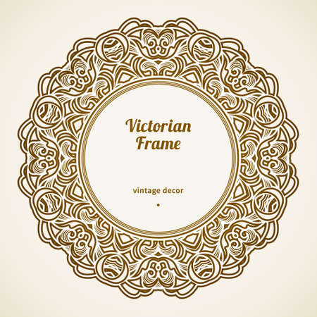 circle frame: Filigree frame in Victorian style in shape of a circle