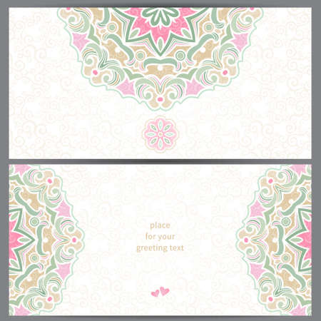 background cover: Vintage ornate cards in Eastern style Illustration