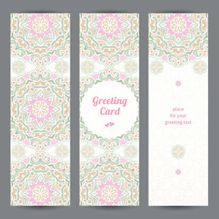 Vintage ornate cards in Eastern style Vector