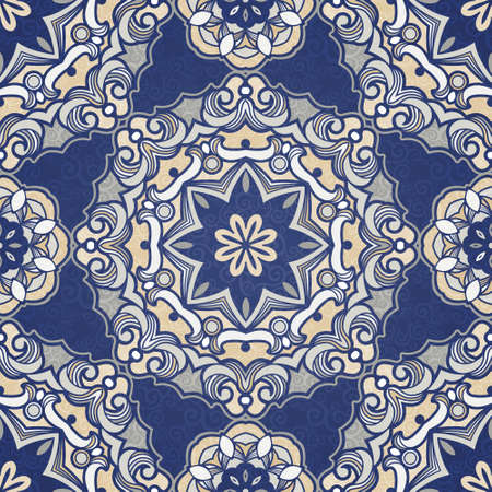 Ornamental blue tracery Vector