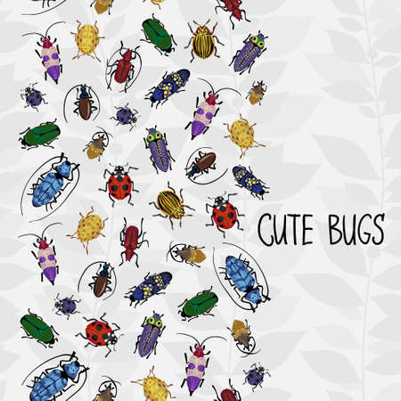 Seamless border with colorful bugs and place for text Vector