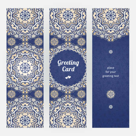 blue floral: Blue floral decor with circle ornaments Illustration