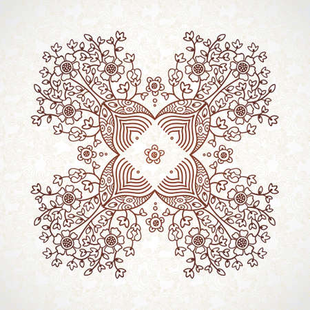 scroll work: lace pattern in Eastern style on scroll work background Illustration