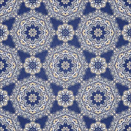 damask wallpaper: Ornamental blue tracery Illustration