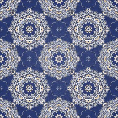 filigree background: Vector seamless pattern, filigree background. Vintage element for design in Eastern style. Ornamental blue tracery. Ornate floral decor for wallpaper. Endless texture. Delicate pattern fill.