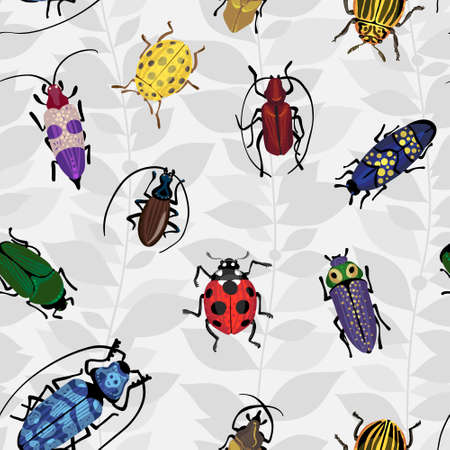 Seamless pattern with colorful bugs. Bright vector drawing of small beetles. Insect on the background with gray leaves. Cartoon bug wallpaper. Vector