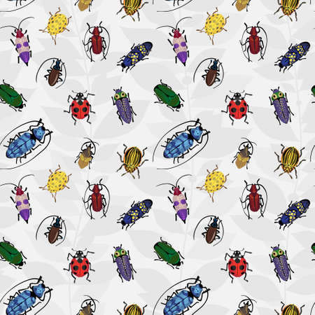 Seamless pattern with colorful bugs