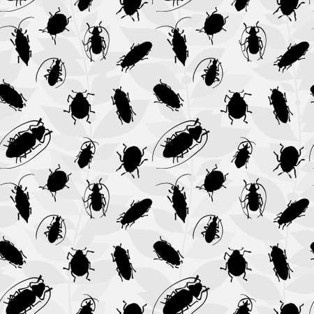 invertebrates: Seamless pattern with silhouette of bugs Illustration