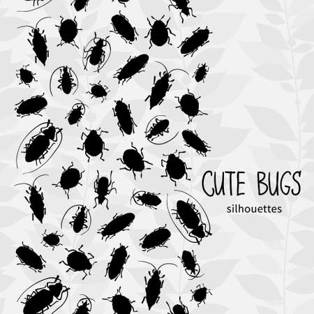invertebrates: Seamless border with silhouette of bugs and place for text. Contrast vector drawing of small beetles. Insect on the background with gray leaves. Cartoon bug wallpaper.