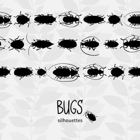 silhouette of bugs Insect on the background with gray leaves Vector