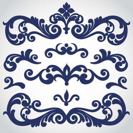 victorian scroll: Vector set with ornament in Victorian style. Ornate elements for design. Toolkit for designer. It can be used for decorating of wedding invitations, greeting cards, decoration for bags and clothes.