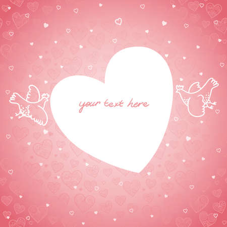 valentine s day background: Large heart with birds on seamless pattern from lacy hearts. Light pink background. Place for your text. It can be used for decorating of invitations, greeting cards, decoration for bags and clothes. Illustration