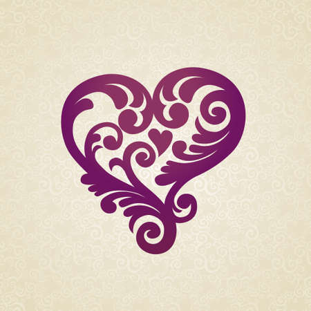 Ornate heart in Victorian style on seamless background. Vector baroque lacy pattern. Element for design. It can be used for decorating of invitations, greeting cards, decoration for bags and clothes. Illustration
