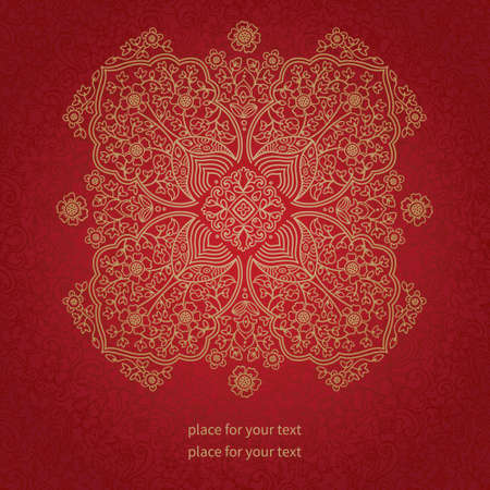 red rug: Ornamental lace pattern. Floral background with many details. It can be used for decorating of wedding invitations, greeting cards, decoration for bags and clothes. Illustration