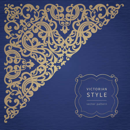 gold corner: Vector baroque ornament in Victorian style. Ornate element for design. Toolkit for designer. It can be used for decorating of wedding invitations, greeting cards, decoration for bags and clothes. Illustration