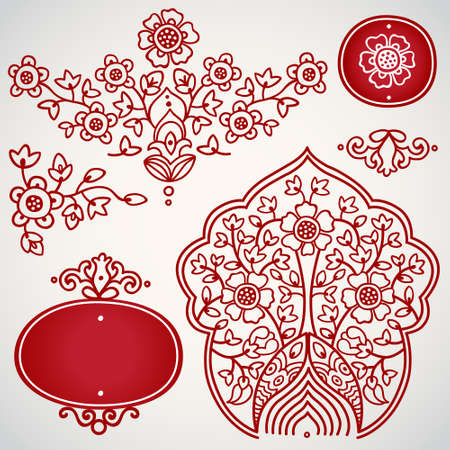 Vector set with ornament in Eastern style. Ornate elements for design. Toolkit for designer. It can be used for decorating of wedding invitations, greeting cards, decoration for bags and clothes. Vector