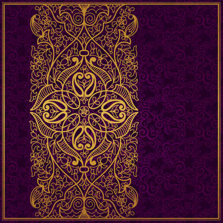 Vector ornate border in Eastern style. Gorgeous element for design, place for text. Ornamental vintage pattern for wedding invitations and greeting cards. Traditional gold decor on purple background. Illustration