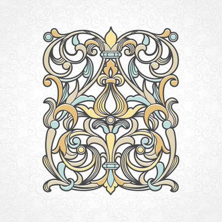 scroll work: Vector floral pattern in Victorian style on scroll work background. Ornate element for design. Ornamental vintage illustration for wedding invitations, greeting cards. Traditional outline decor. Illustration