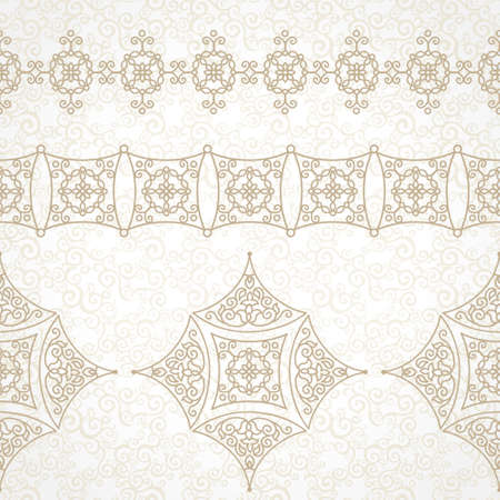scroll work: Vector vintage border in Eastern style. Ornate element for design and place for text. Ornamental floral illustration for wedding invitations and greeting cards. Traditional decor on scroll work background. Illustration