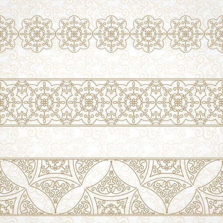 scroll border: Vector vintage border in Eastern style. Ornate element for design and place for text. Ornamental floral illustration for wedding invitations and greeting cards. Traditional decor on scroll work background. Illustration