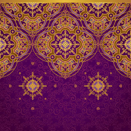 Vector ornate border in Eastern style. Gorgeous element for design, place for text. Ornamental vintage pattern for wedding invitations and greeting cards. Traditional gold decor on purple background. Vector