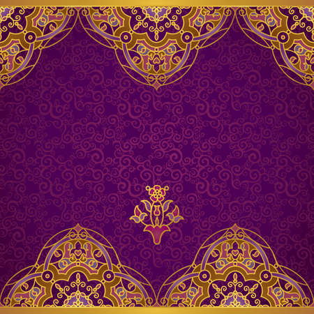filigree background: Vector ornate border in Eastern style. Gorgeous element for design, place for text. Ornamental vintage pattern for wedding invitations and greeting cards. Traditional gold decor on purple background. Illustration