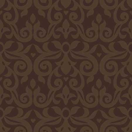 victorian wallpaper: Vector seamless pattern with brown ornaments. Vintage element for design in Victorian style. Ornamental lace tracery. Ornate floral decor for wallpaper. Endless vintage texture. Dark pattern fill. Illustration