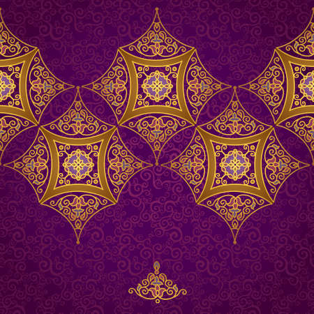 ornate background: Vector ornate border in Eastern style. Gorgeous element for design, place for text. Ornamental vintage pattern for wedding invitations and greeting cards. Traditional gold decor on purple background. Illustration