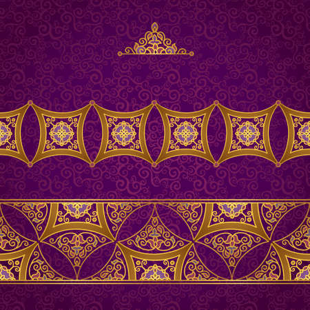 eastern religion: Vector ornate border in Eastern style. Gorgeous element for design, place for text. Ornamental vintage pattern for wedding invitations and greeting cards. Traditional gold decor on purple background. Illustration