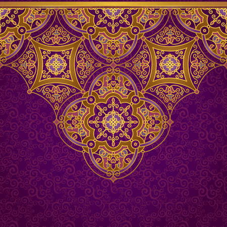purple and gold: Vector ornate seamless border in Eastern style. Gorgeous element for design, place for text. Ornamental vintage pattern for wedding invitations and greeting cards. Traditional gold decor on purple background.