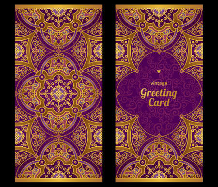 traditional events: Vintage ornate cards in Eastern style. Golden decor with floral ornaments. Template ornamental frame for greeting card and wedding invitation. Filigree vector border and place for your text. Illustration