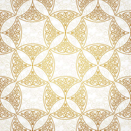 brocade: Vector seamless pattern with golden ornaments. Vintage element for design in Eastern style. Ornamental lace tracery. Ornate floral decor for wallpaper. Endless vintage texture. Brocade pattern fill. Illustration