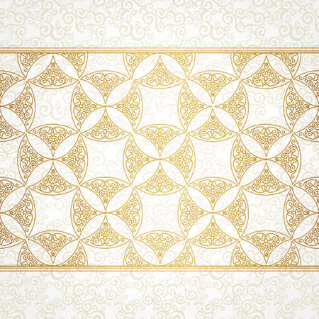 Vector ornate seamless border in Eastern style. Gorgeous element for design, place for text. Ornamental vintage pattern for wedding invitations and greeting cards. Traditional gold decor.