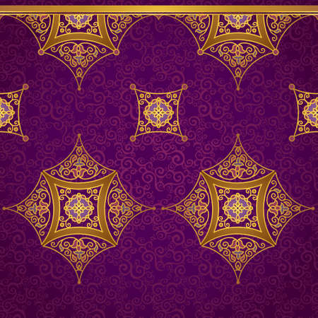 filigree background: Vector ornate seamless border in Eastern style. Gorgeous element for design, place for text. Ornamental vintage pattern for wedding invitations and greeting cards. Traditional gold decor.