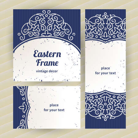 Vintage ornate cards with Eastern elements. Outline decor with floral ornaments. Template ornamental frame for greeting card and wedding invitation. Filigree vector border and place for your text. Vector