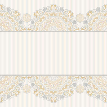 oriental background: Vector seamless border in Eastern style. Vintage element for design. Ornamental floral pattern, pastel tracery for wedding invitations, greeting cards. Traditional delicate decor, filigree background. Illustration