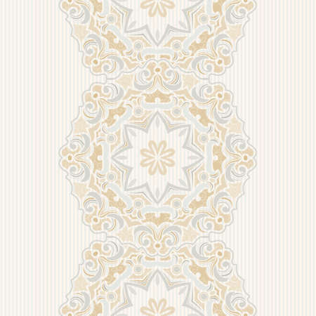filigree background: Vector seamless border in Eastern style. Vintage element for design. Ornamental floral pattern, pastel tracery for wedding invitations, greeting cards. Traditional delicate decor, filigree background. Illustration