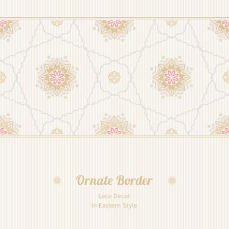 scroll tracery: Vector seamless border in Eastern style. Vintage element for design. Ornamental floral pattern, pastel tracery for wedding invitations, greeting cards. Traditional delicate decor, filigree background. Illustration