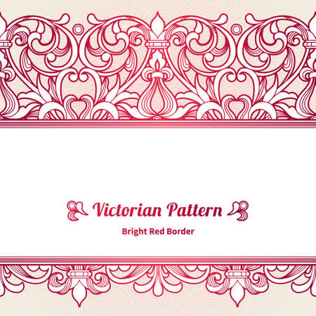 Vector seamless border in Victorian style. Vintage element for design, place for text. Ornamental floral pattern for wedding invitations, greeting cards. Traditional red decor on pink background.
