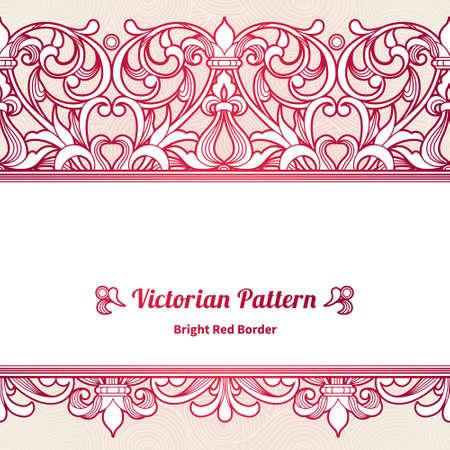 Vector naadloze grens in Victoriaanse stijl. Vintage element voor ontwerp, plaats voor tekst. Sier bloemmotief voor bruiloft uitnodigingen, wenskaarten. Traditionele rode decor op roze achtergrond. Stock Illustratie